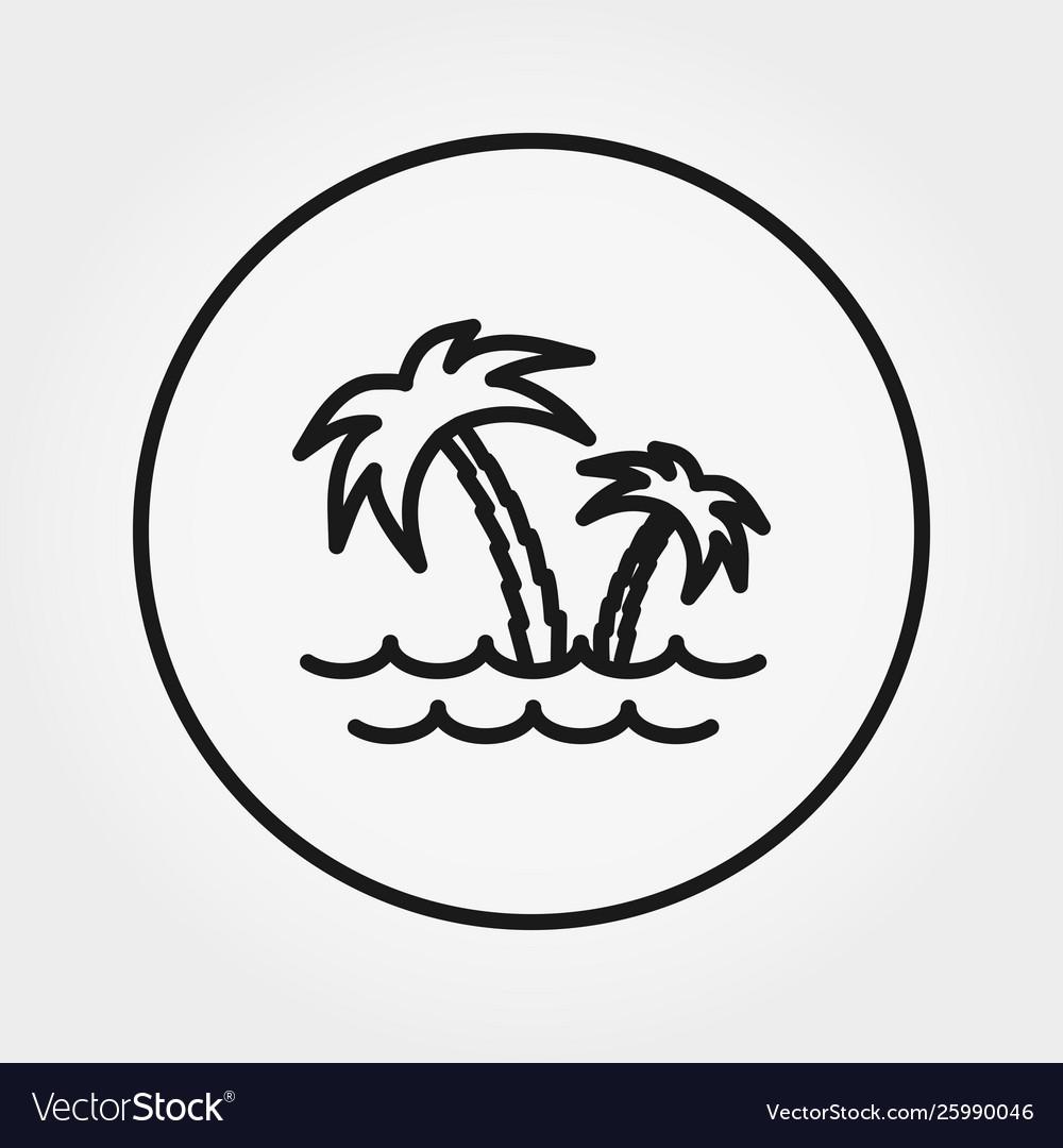 Palm tree sea icon editable thin