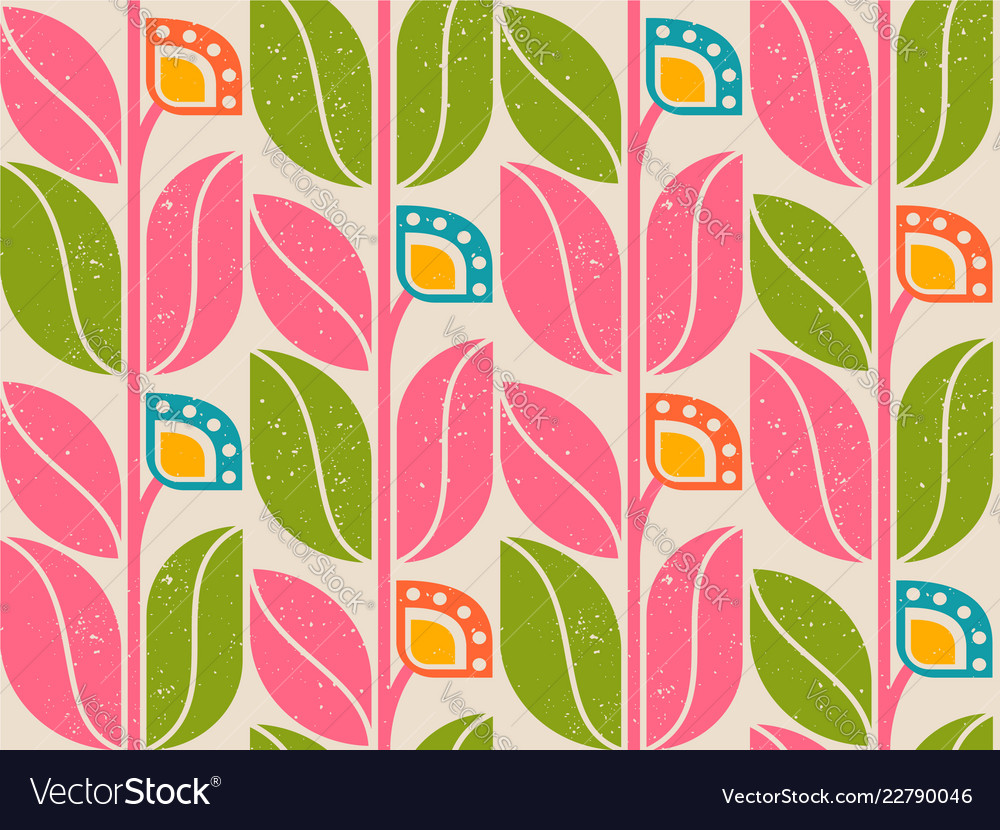 Pattern with retro abstract flowers