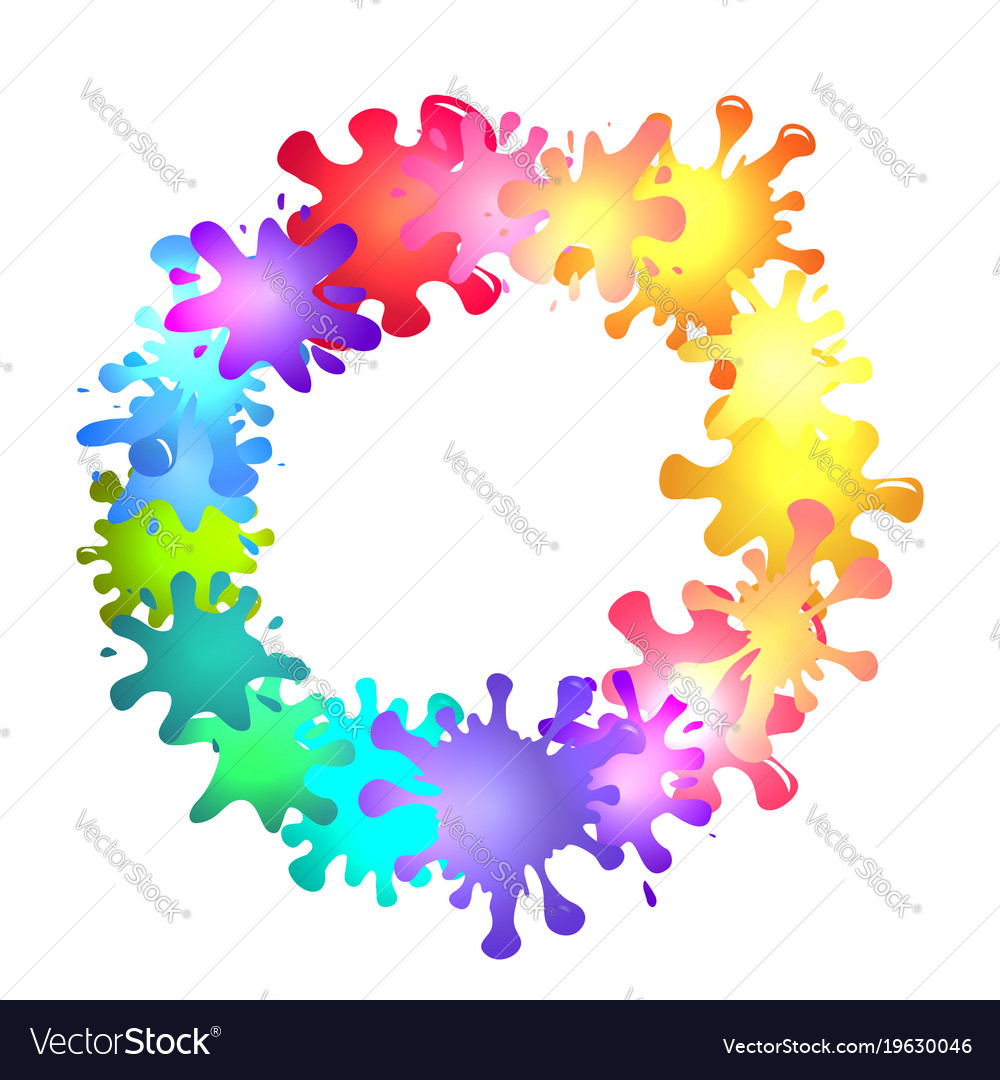 Round frame of multicolored blots of paint with