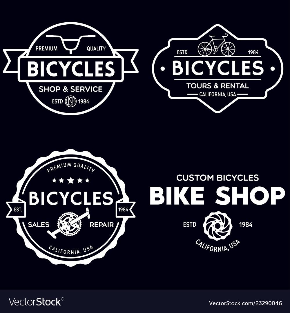 Set of vintage and modern bike shop logo badges