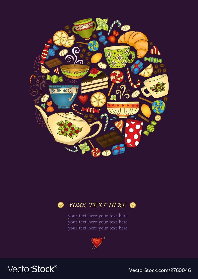 Tea coffe and sweets pattern invitation vector image