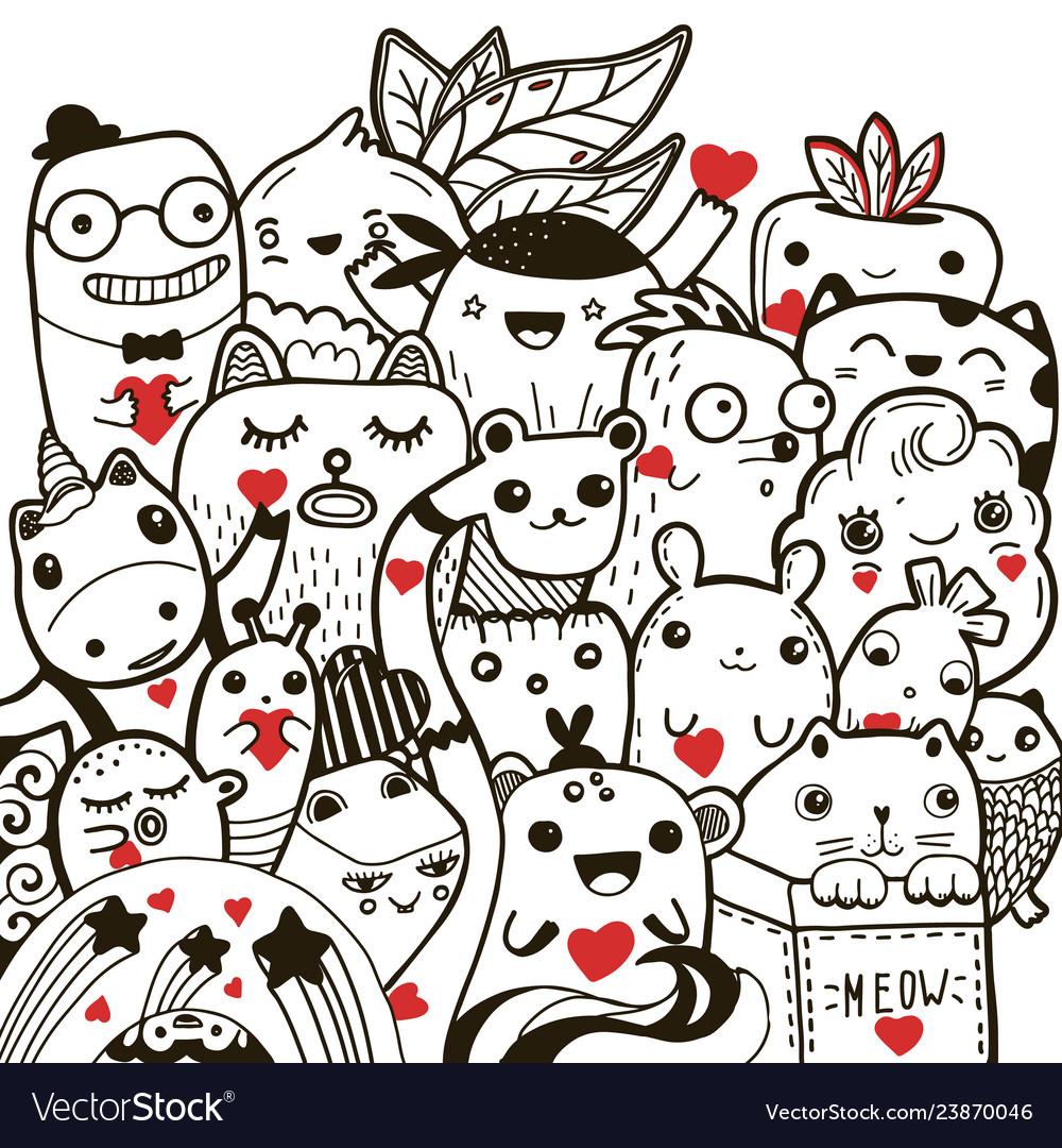 Valentines day doodling kawaii greeting card