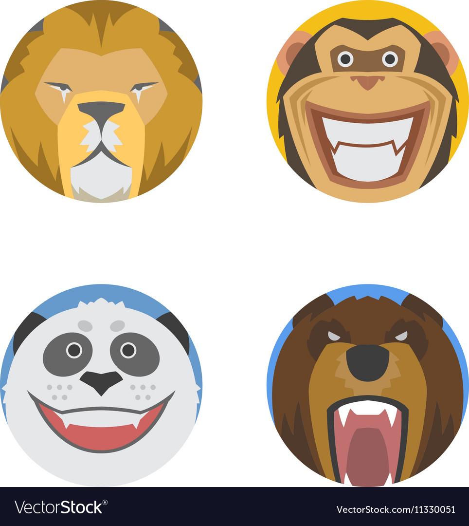 Animals emotions icons set
