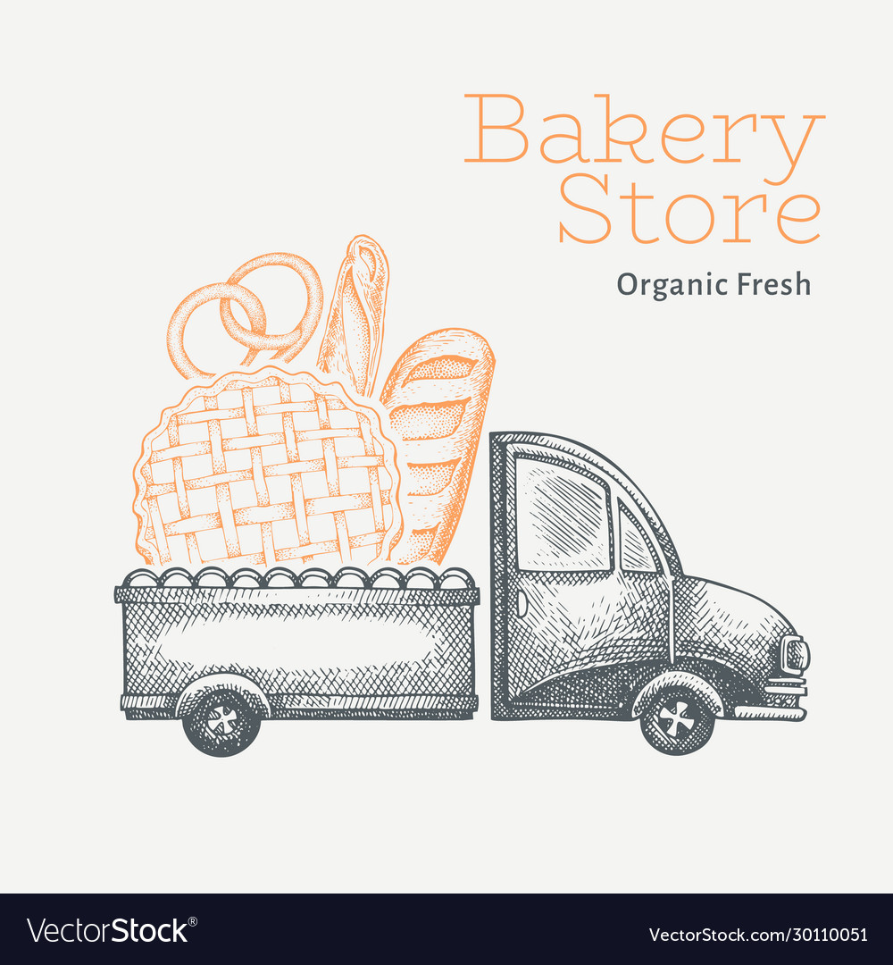 Bakery delivery logo template hand drawn truck