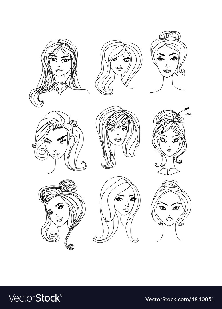 Black And White Cartoon Of Women Characters Faces Vector Image