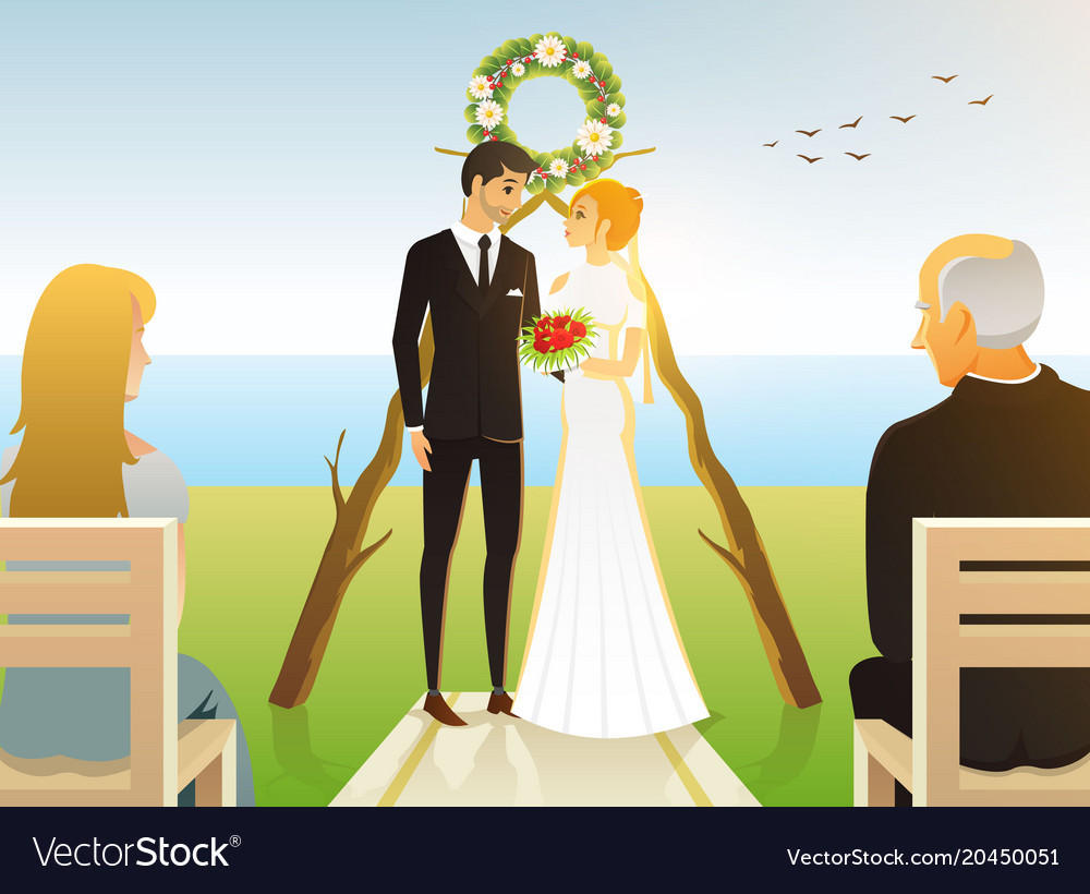 Bride and groom wedding ceremony on the beach by