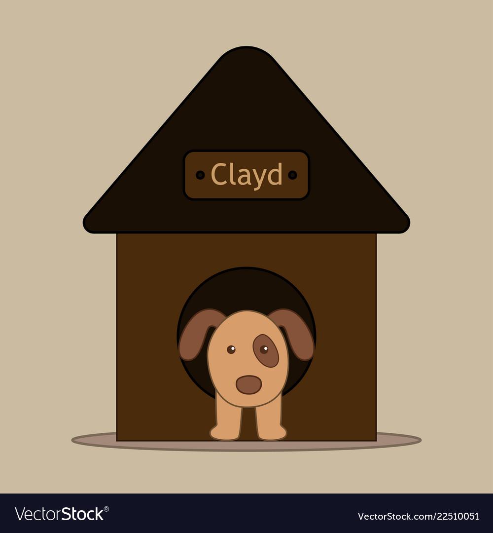 Dog in dog house in flat design
