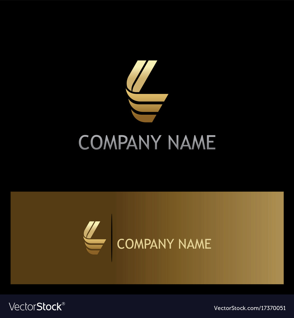 Gold letter l shape logo