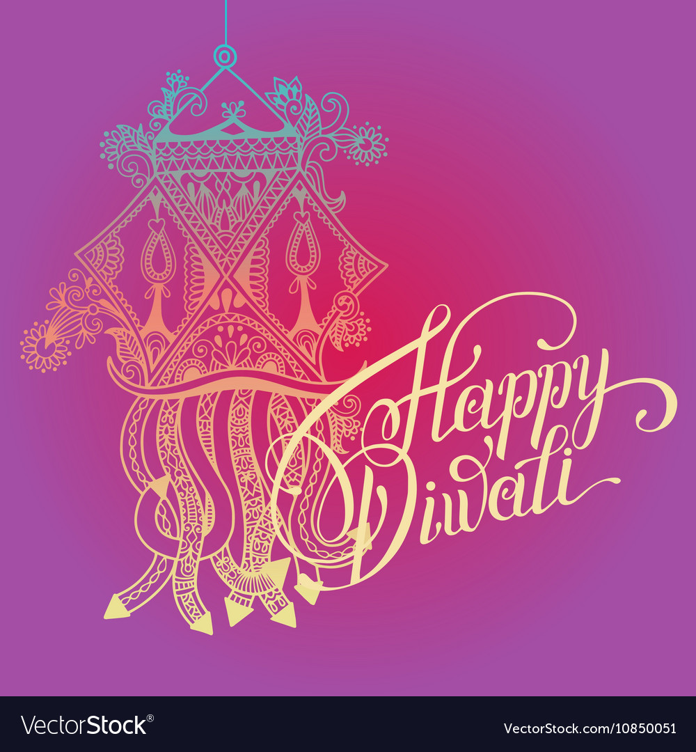 Happy diwali greeting card with paisley ornamental happy diwali greeting card with paisley ornamental vector image m4hsunfo