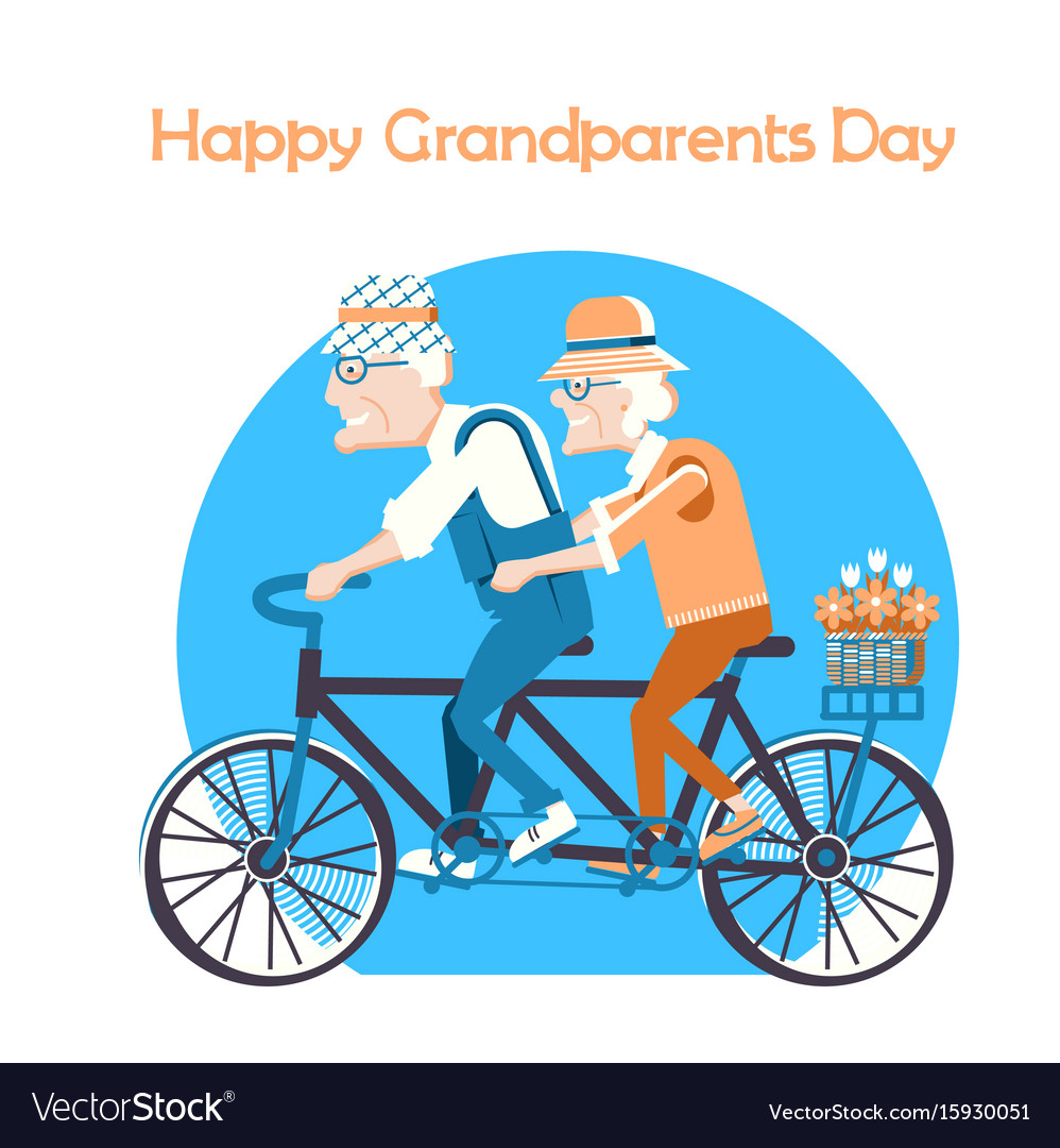 Happy grandparents day holiday card vector image