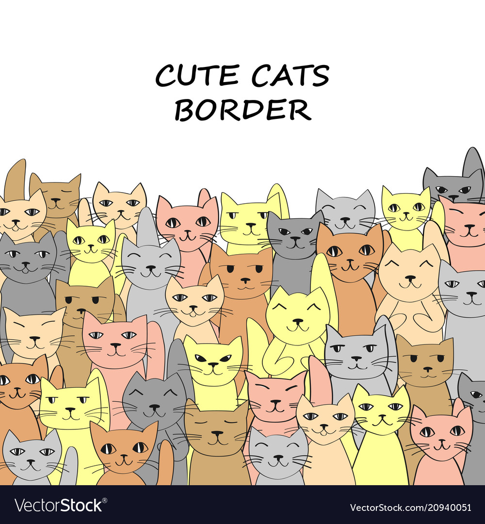 Horizontal cats banner with place for text