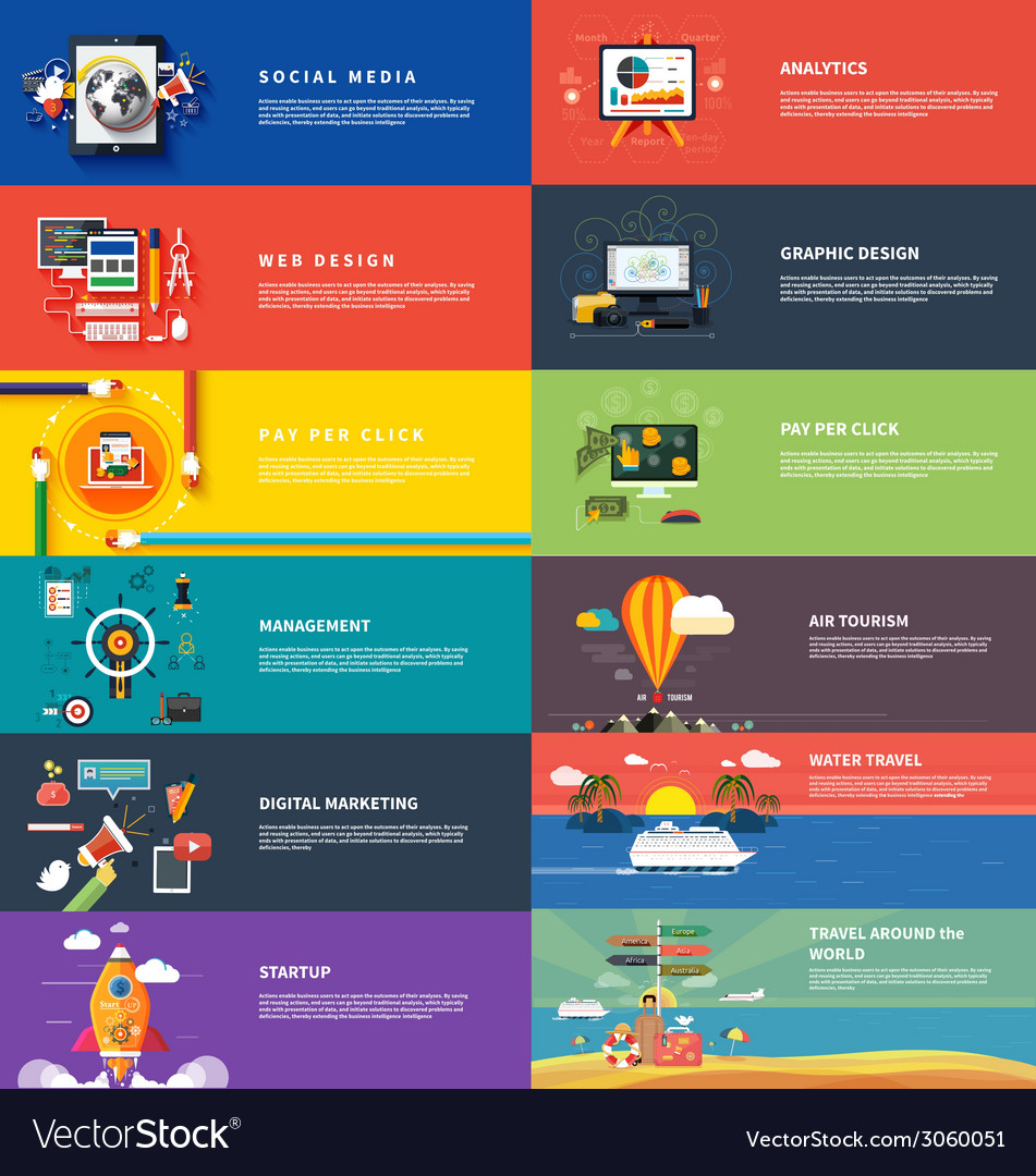 Management digital marketing srartup planning seo vector image