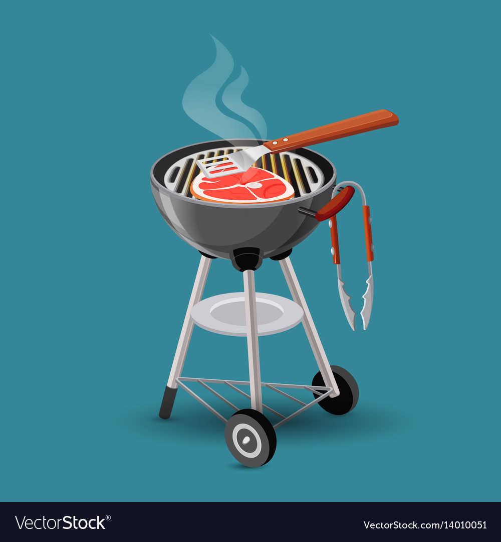 Meat fried on barbecue grill icon in cartoon style