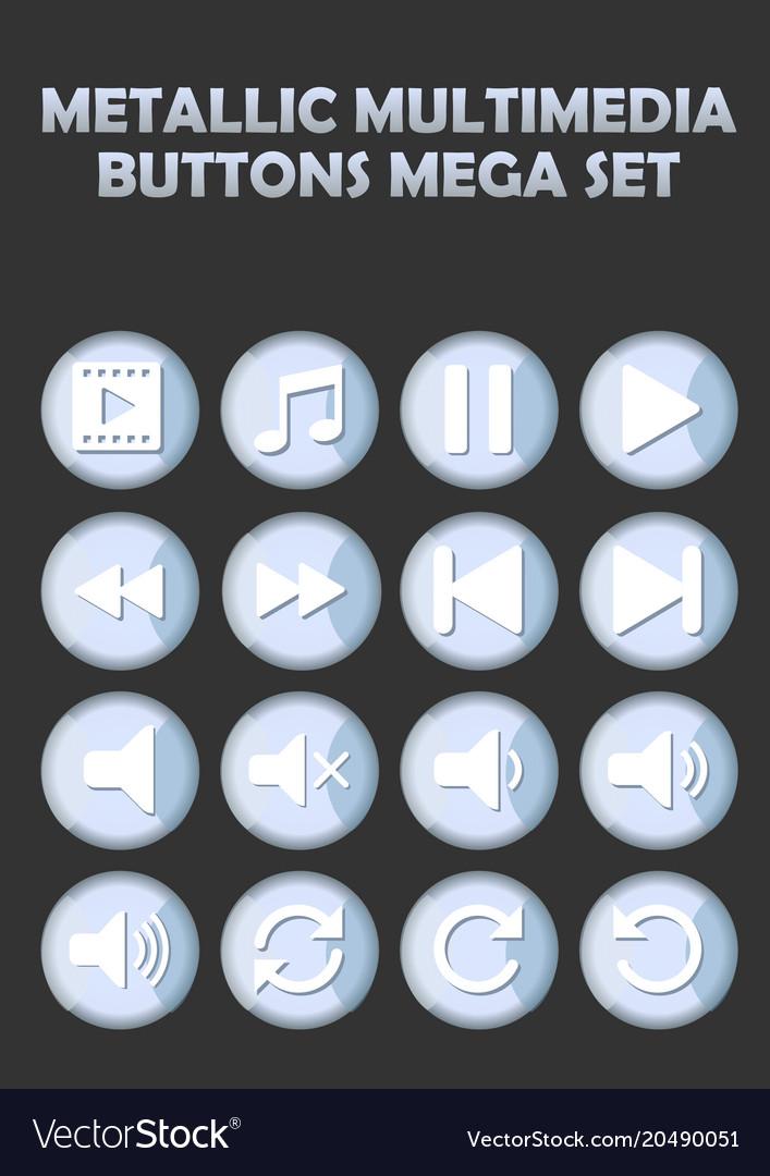 Metallic multimedia buttons set for website
