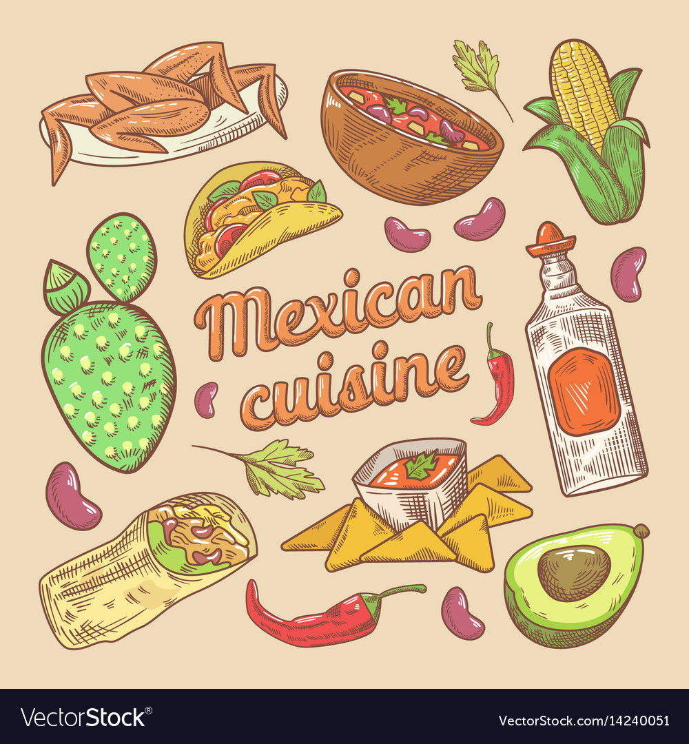 Mexican cuisine traditional food hand drawn doodle