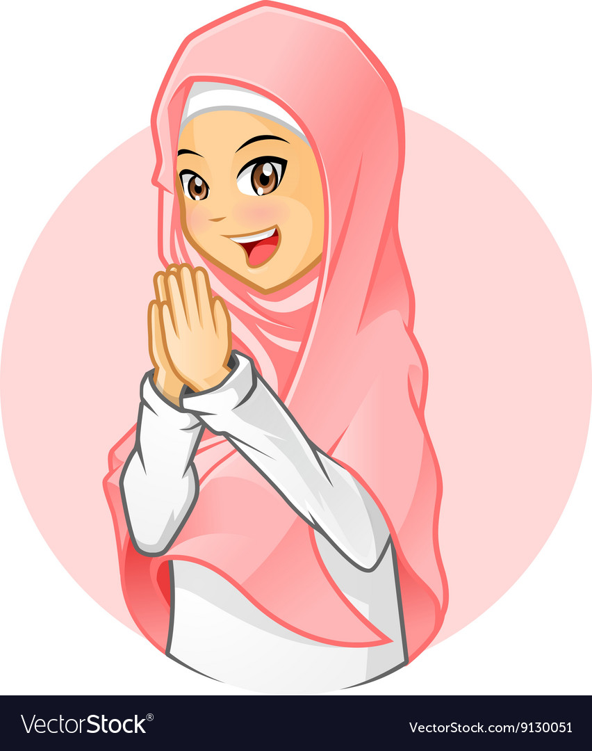 Muslim girl with salutation pose vector image