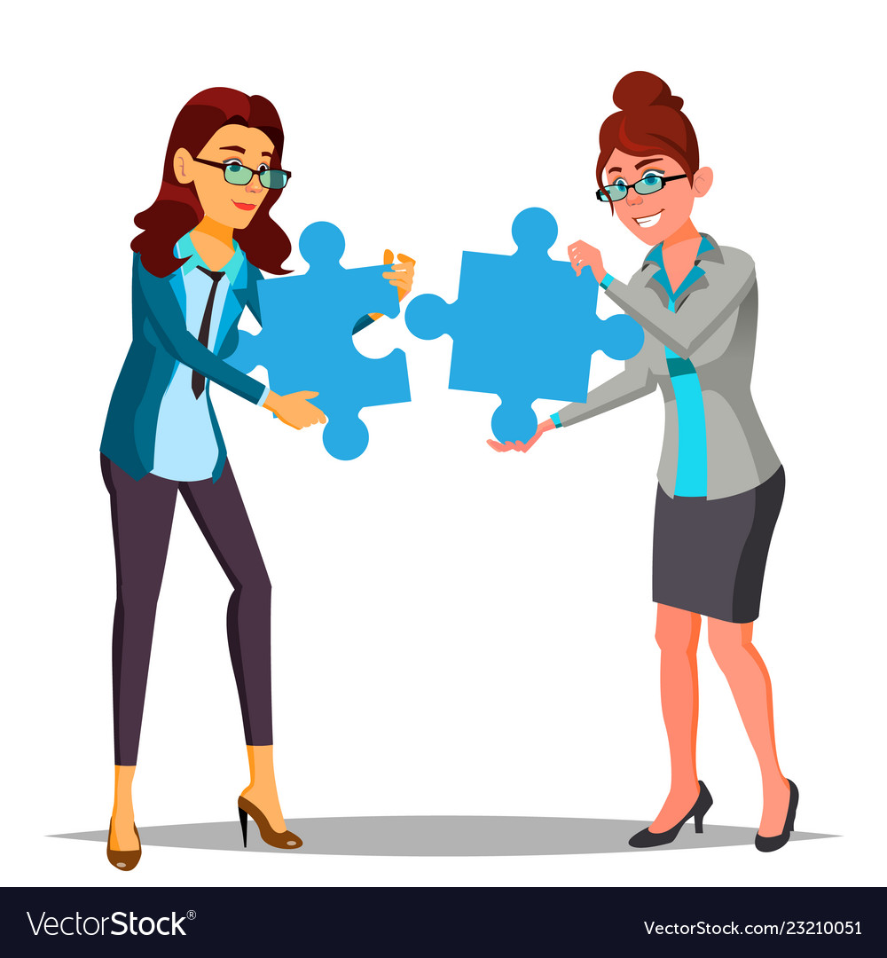 Partnership two business woman holding in