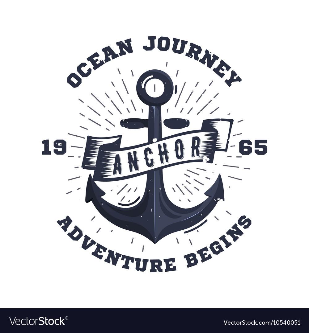 Retro nautical label with anchor sunburst ribbon