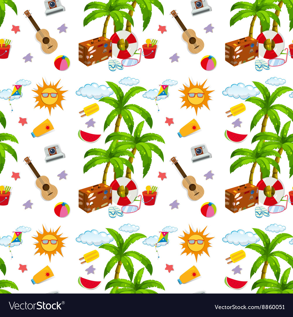Seamless summer objects and coconut tree
