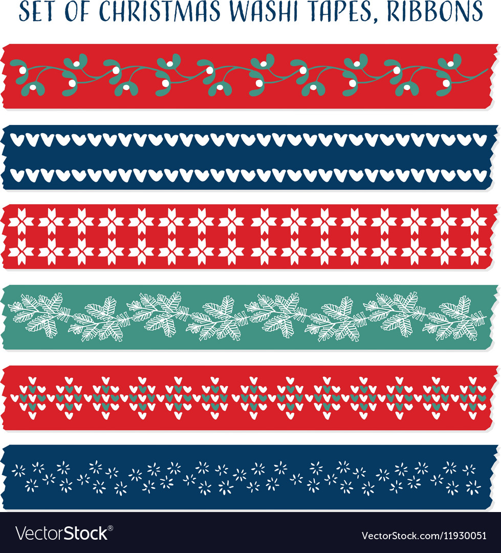 Set of vintage Christmas washi tapes ribbons
