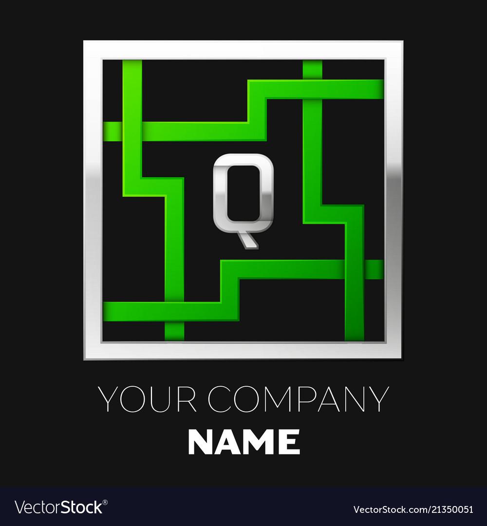 Silver letter q logo symbol in the square maze