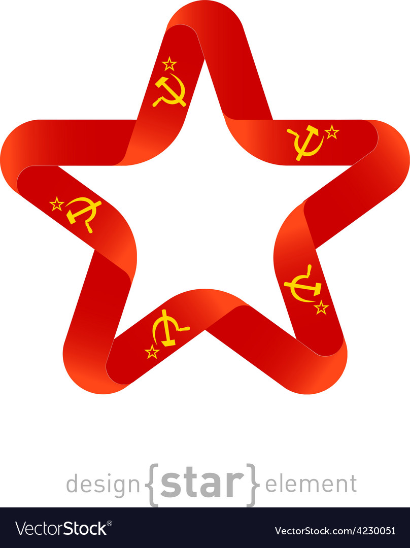 Star with USSR flag colors and symbols design