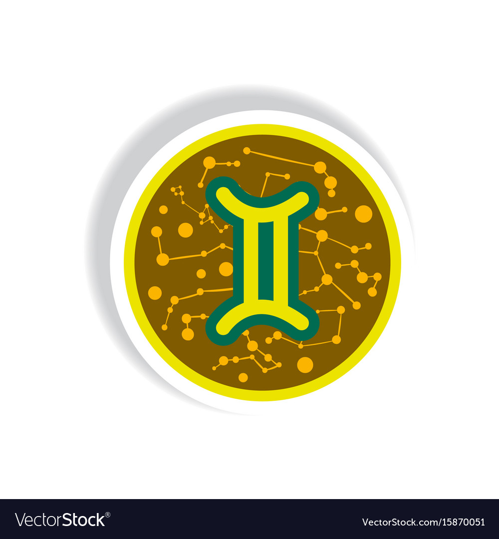 Stylish icon in paper sticker style zodiac sign