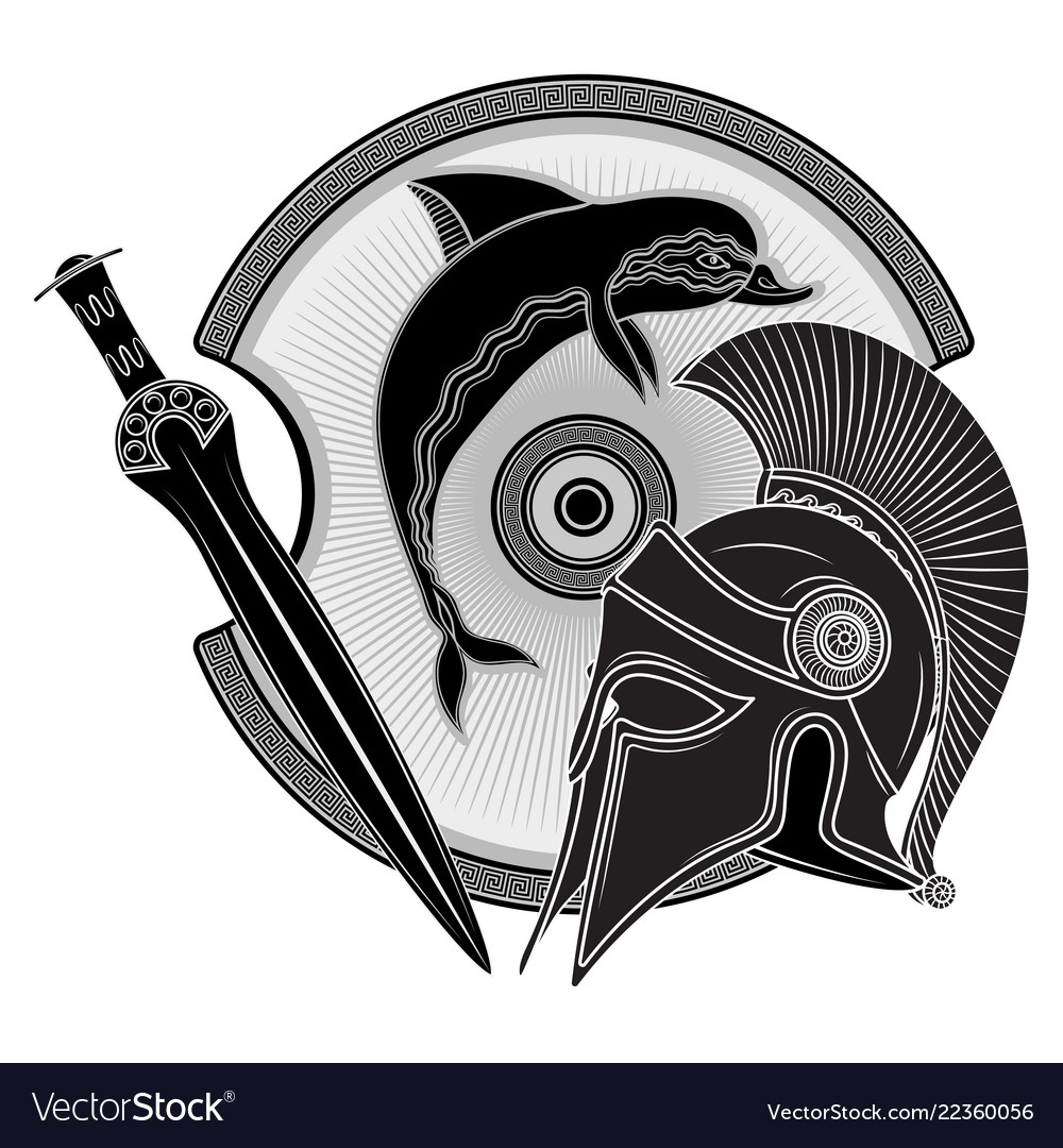 Ancient hellenic helmet ancient greek shield the