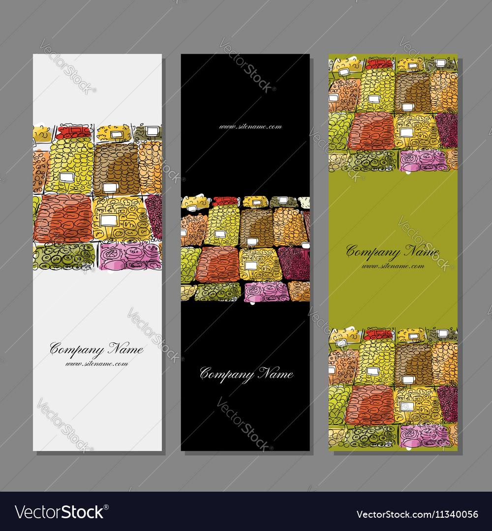 Business cards design fruit market sketch