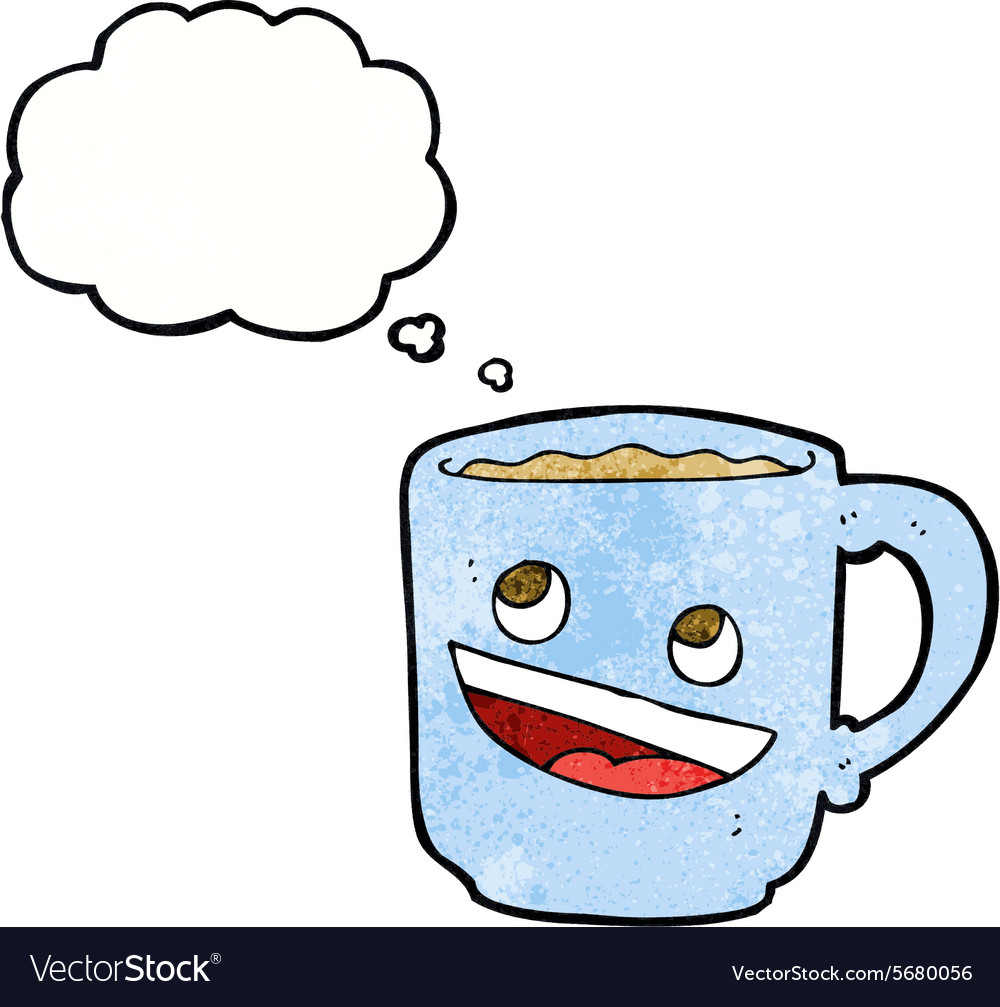 cartoon coffee mug with thought bubble royalty free vector rh vectorstock com cartoon thought bubble vector thought bubble vector free
