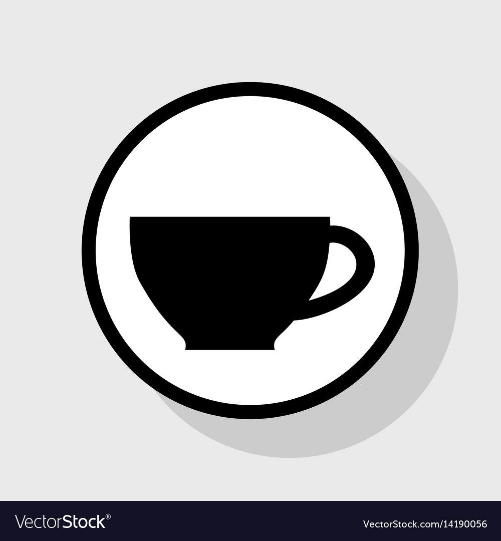 Cup sign flat black icon in white circle