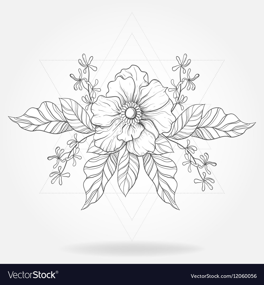 6bf636cc8983c Freehand boho tattoo Blackwork flower in hipster Vector Image