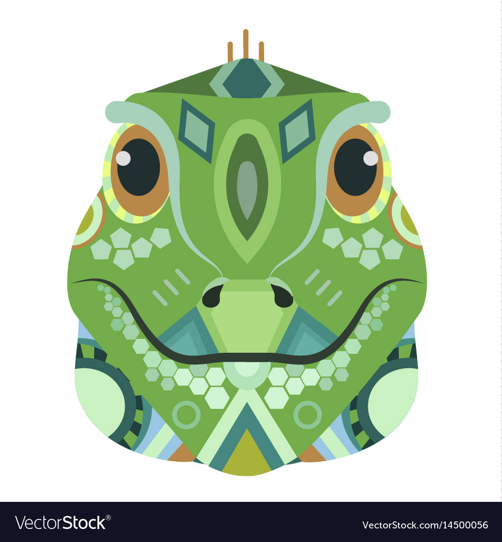 Iguana head logo lizard decorative emblem
