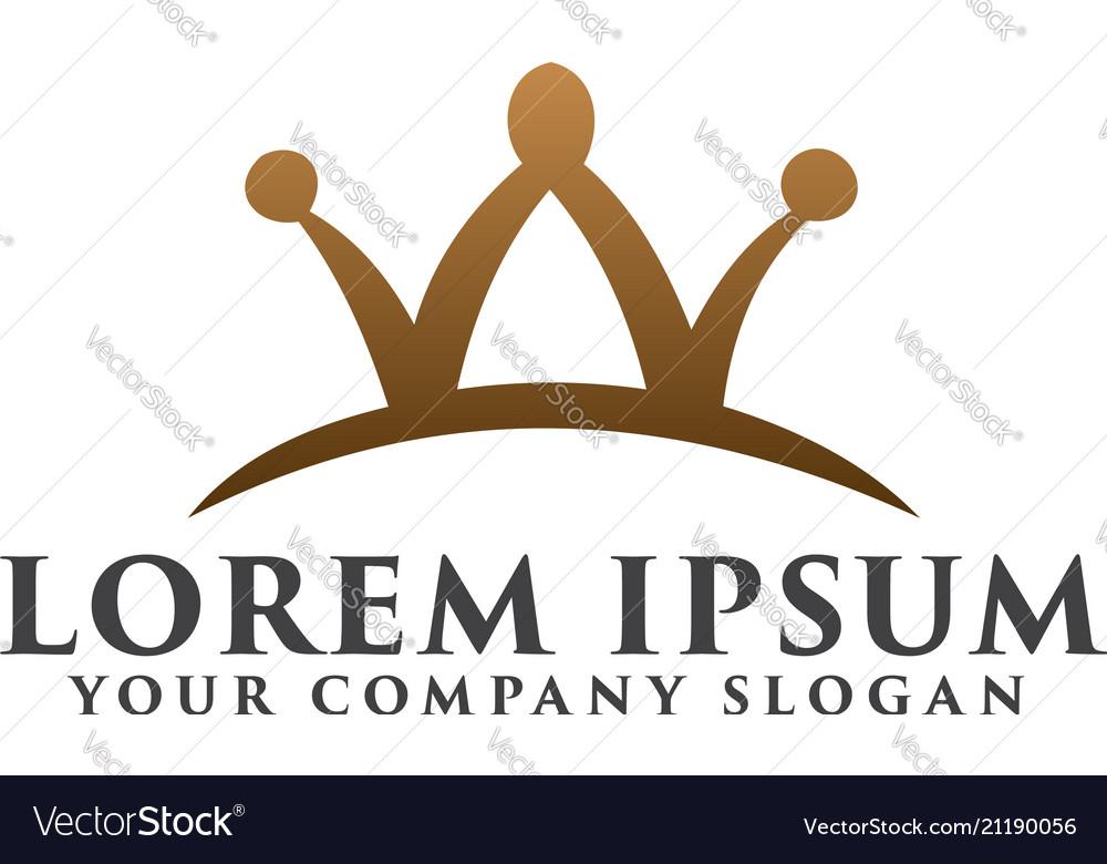 Letter w crown logo design concept template