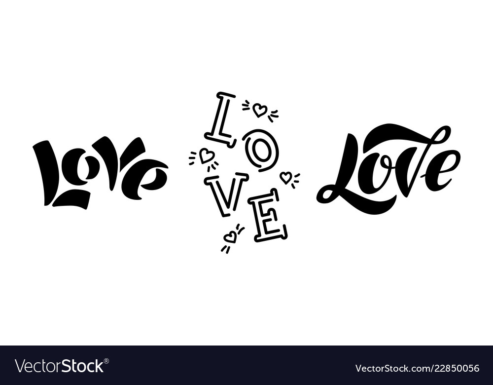 Love modern lettering isolated on white background
