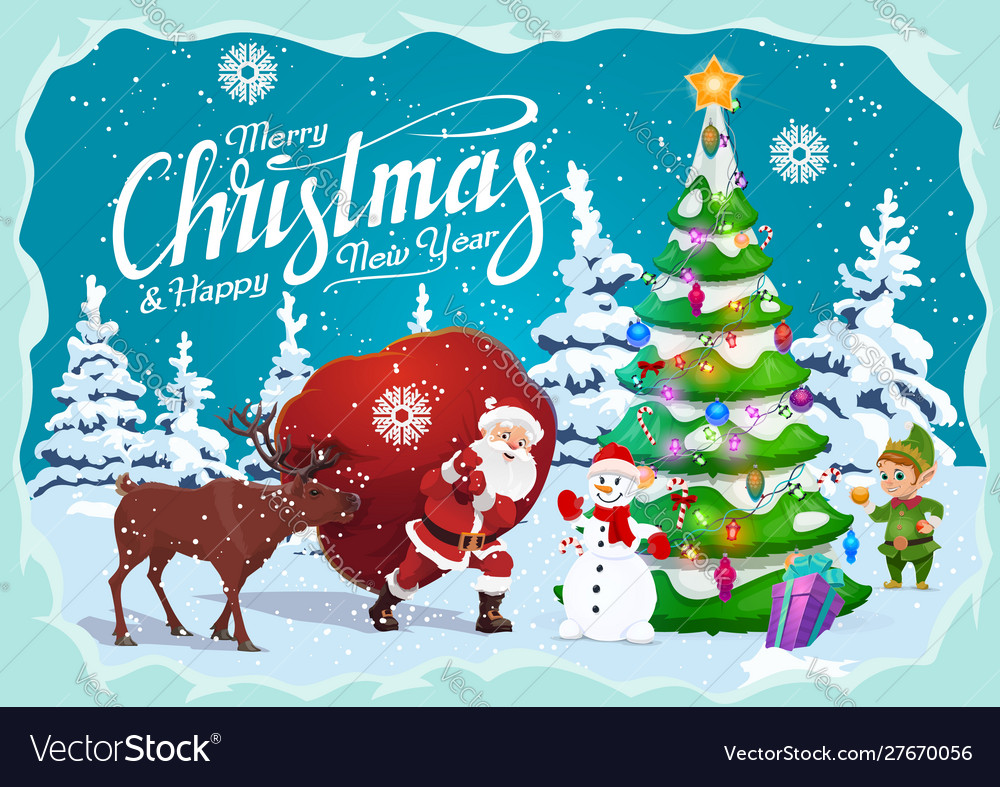 New year and christmas greetings winter holidays
