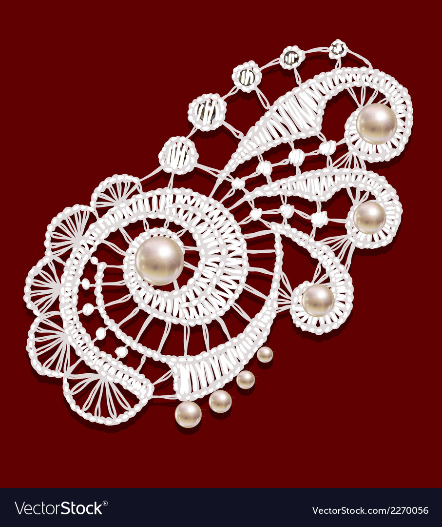Openwork lace with pearls Realistic