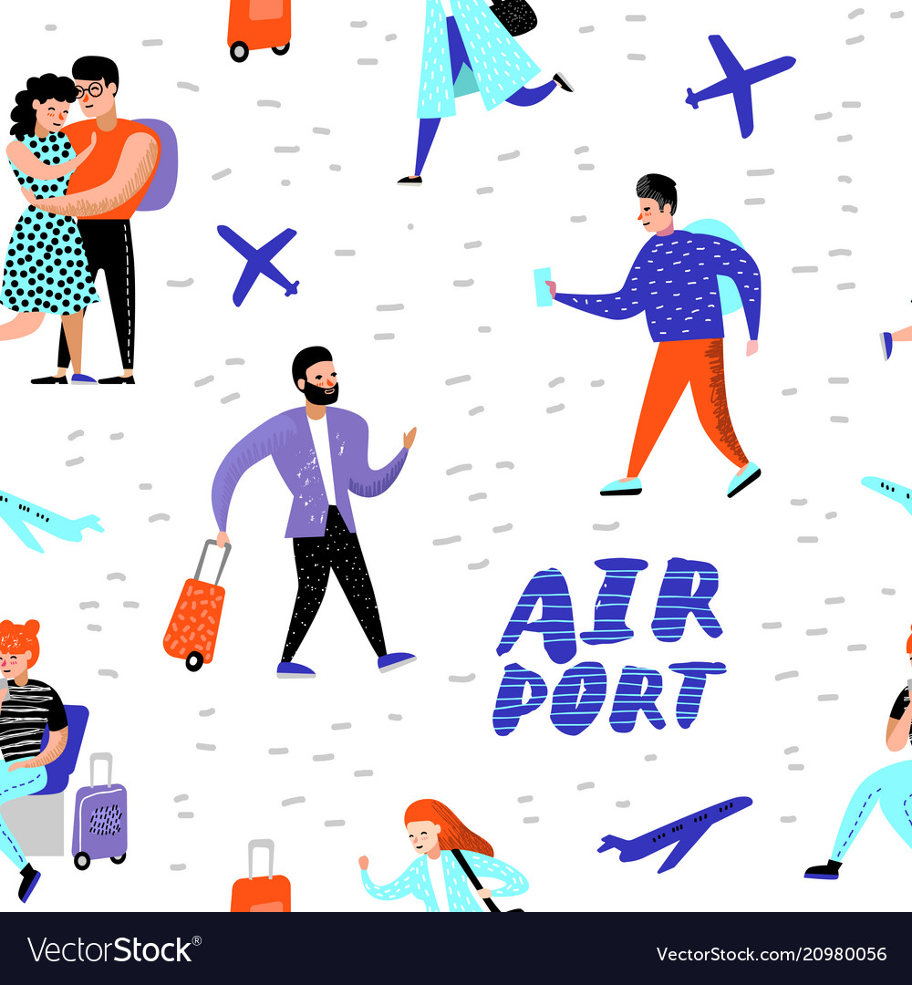 People traveling by plane seamless pattern