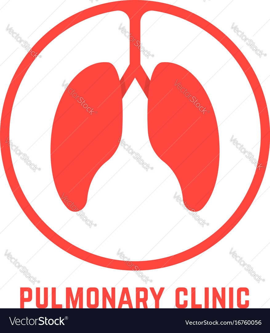 Red outline pulmonary clinic logo vector image
