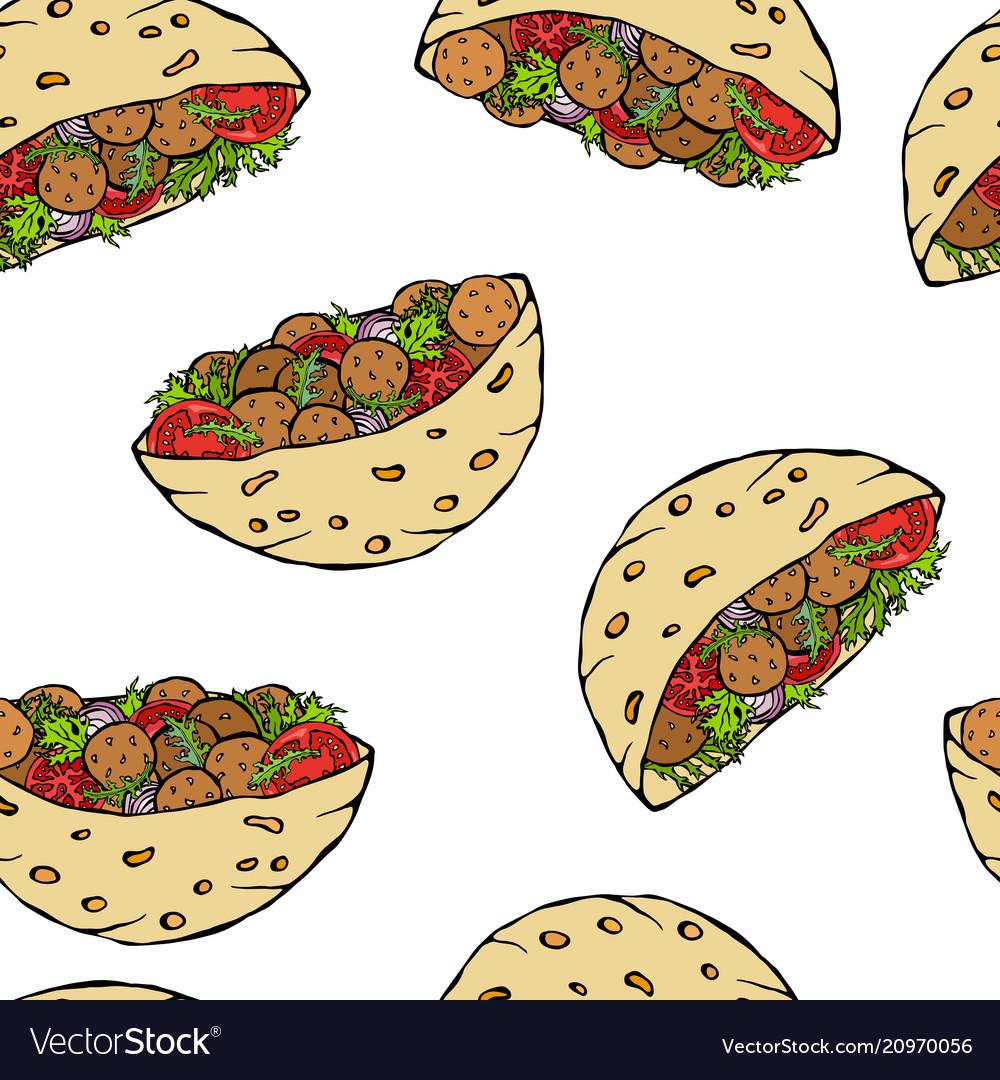 Seamless endless pattern with falafel pita or