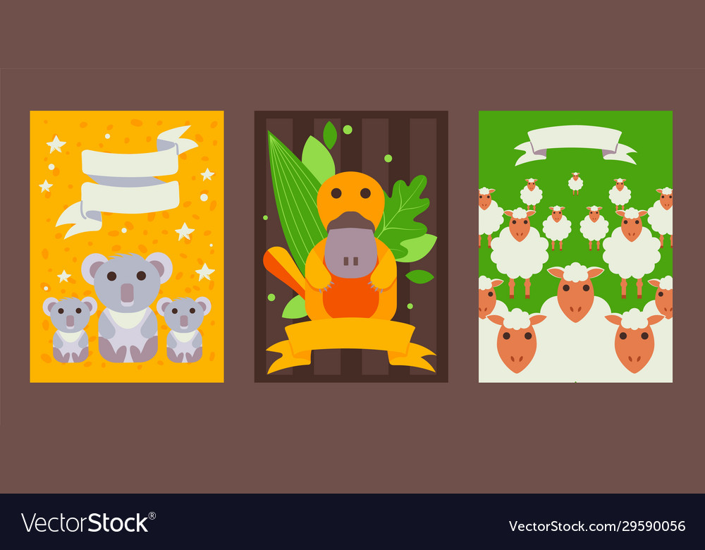 Set banners with cute australian animals in