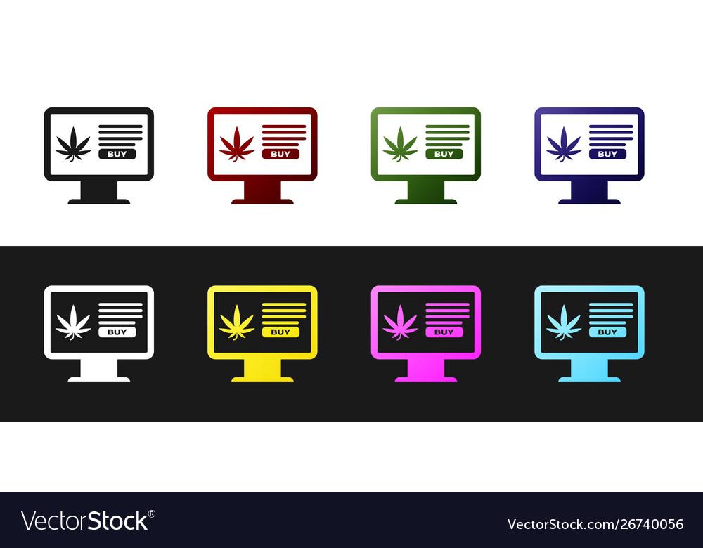 Set computer monitor and medical marijuana or