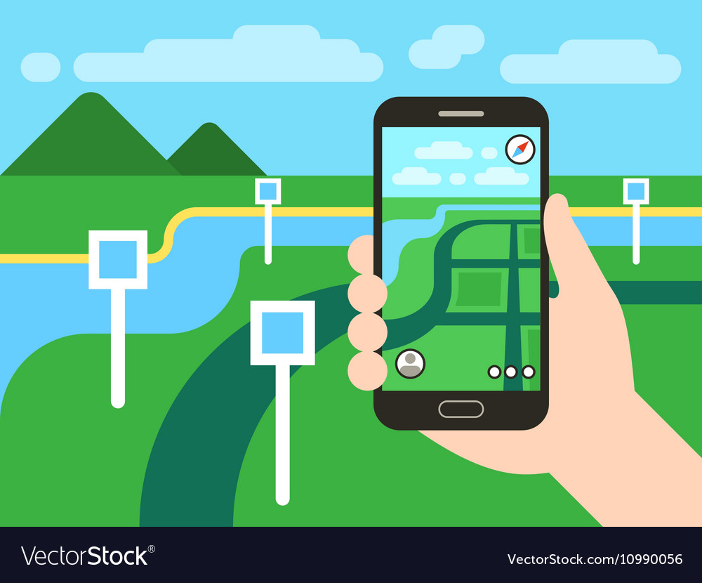 Smartphone with mobile gps navigation system and vector image