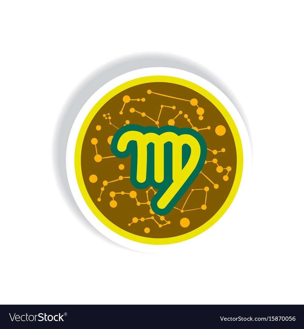 Stylish icon in paper sticker style zodiac signs