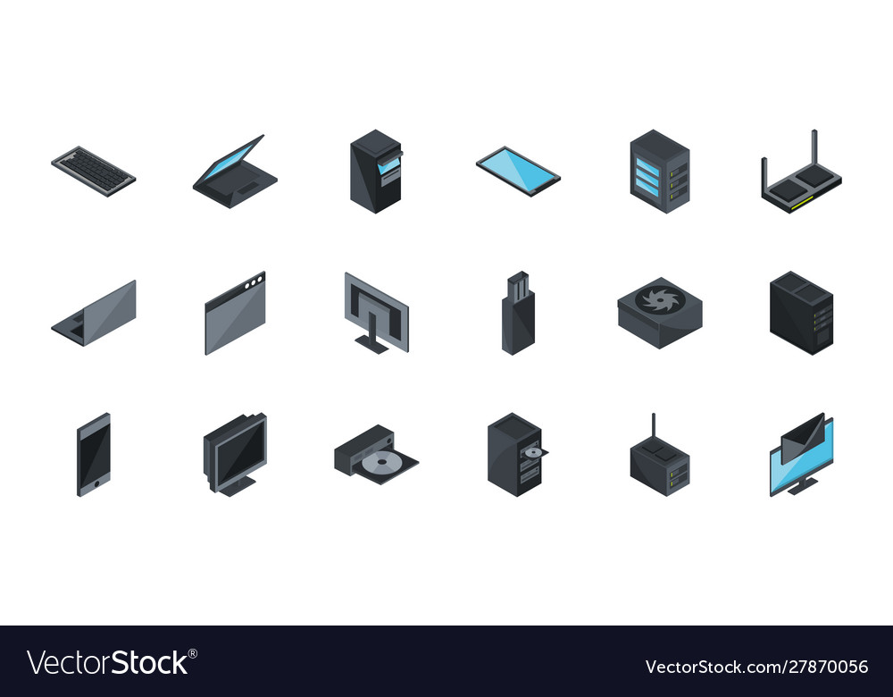 Technology hardware device computer icons set