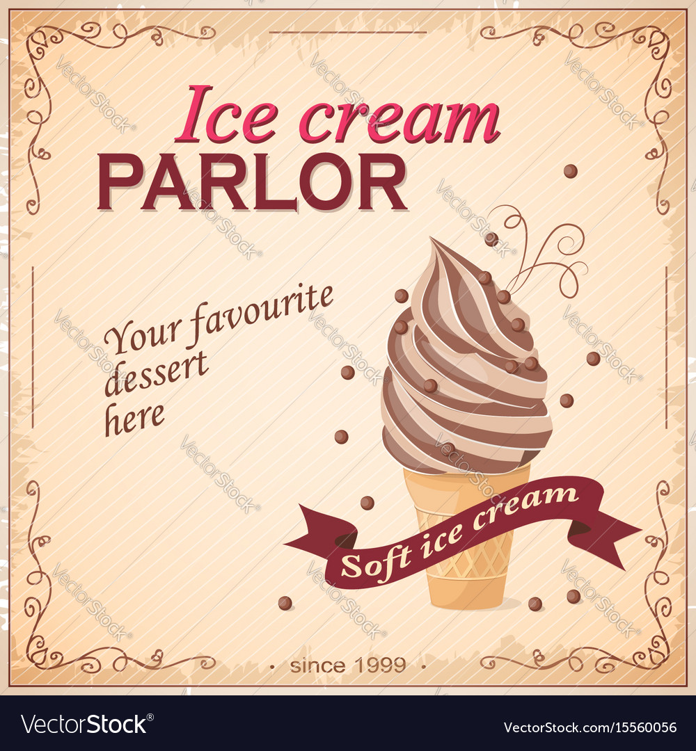 Vintage banner with ice cream
