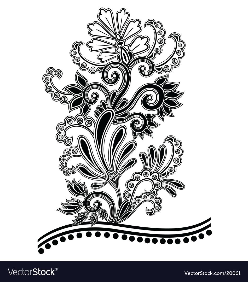 Batik Floral Royalty Free Vector Image