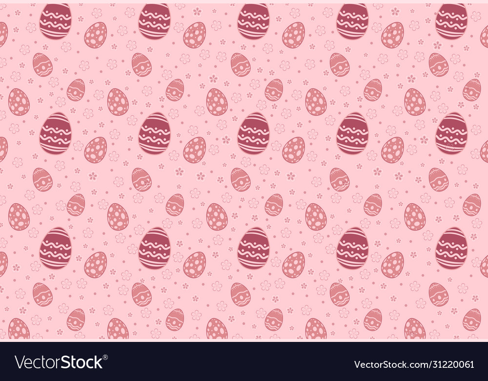 Easter eggs seamless pattern on pink background