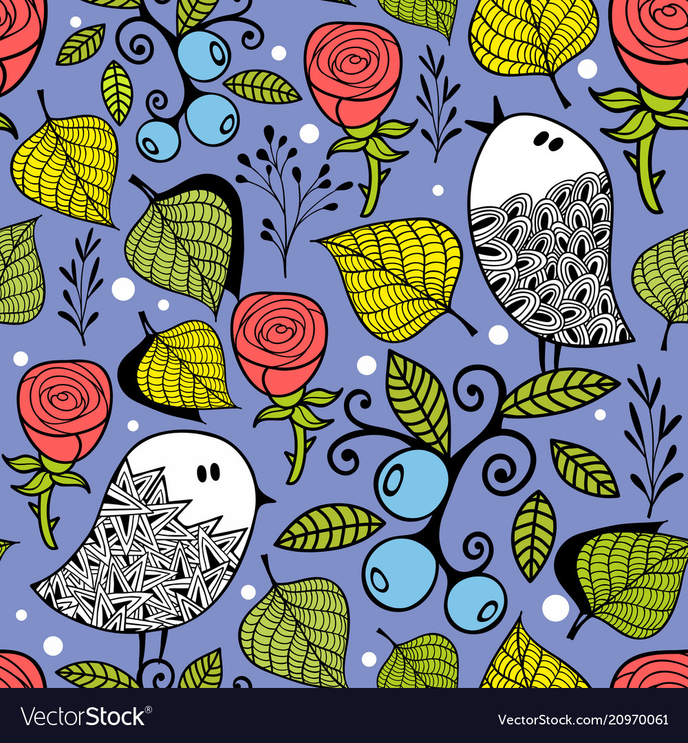 Endless creative background with doodle birds with