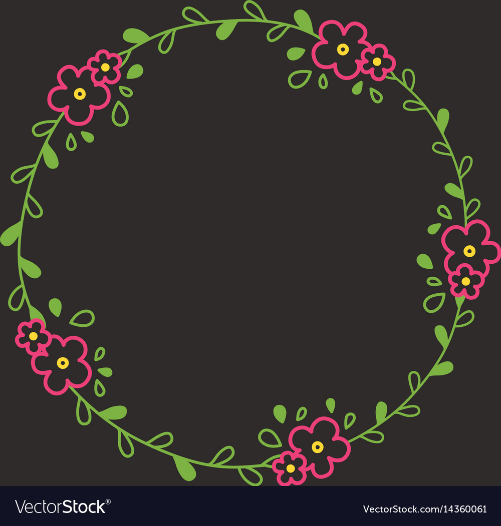 Floral colorful line wreath or circle frame with vector image